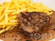 Рецепта Телешки стек с пепър сос